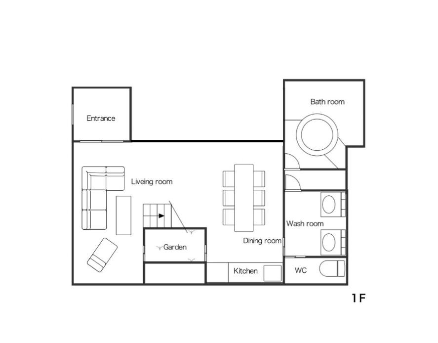 別邸 樹下見取り図1階